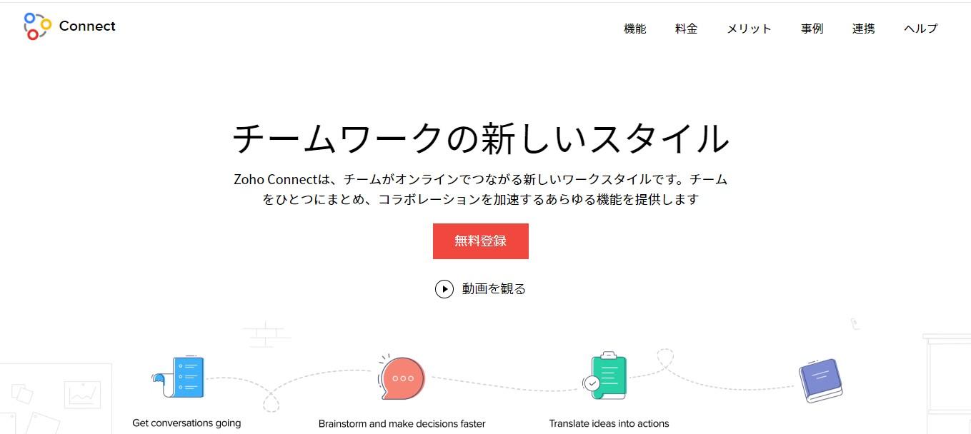 ZohoConnectの公式トップページイメージ