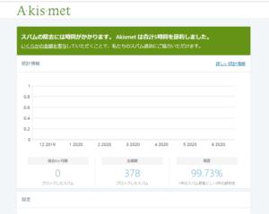 Akismet Anti-Spam設定画面