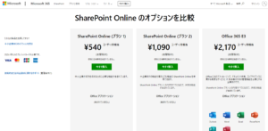SharePointの料金プラン